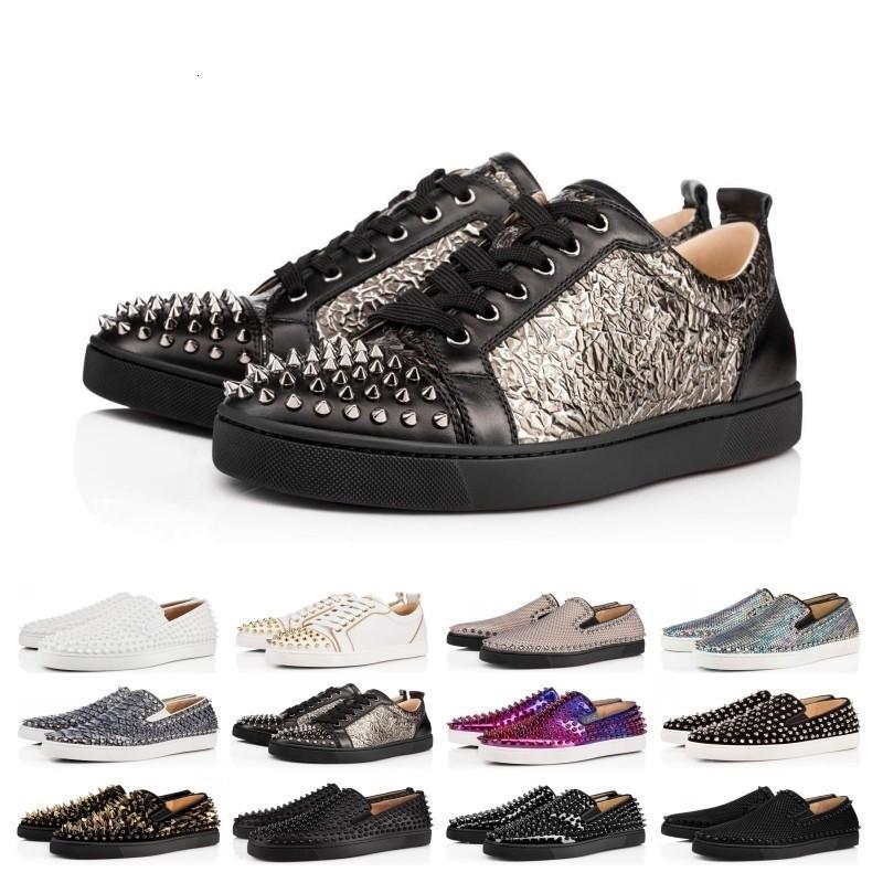 Big Sale Designer Chaussures cloutées Spikes chaussures Flats chaussures rouges Bas luxe des femmes des hommes Parti véritable taille Sneakers en cuir 36-46