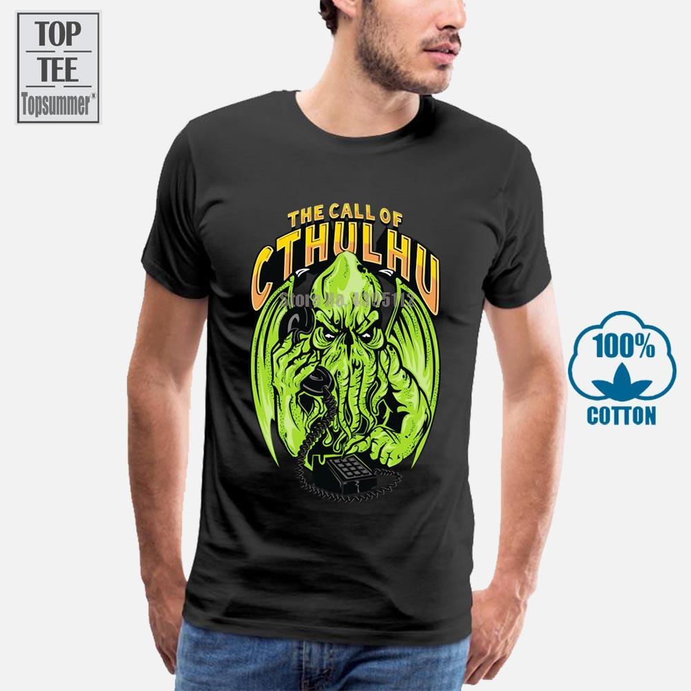 2018 La Llamada de Cthulhu divertido DE T Camisa de los hombres del monstruo Diseñador Funky Negro camisetas Camisa de encargo de Halloween Top 3XL