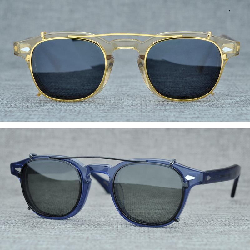 Polarize Klip Güneş gözlüğü On Erkekler Kadınlar Johnny Depp glasess Vintage Kare Güneş Gözlük Retro Optik Reçete Gözlük UV400