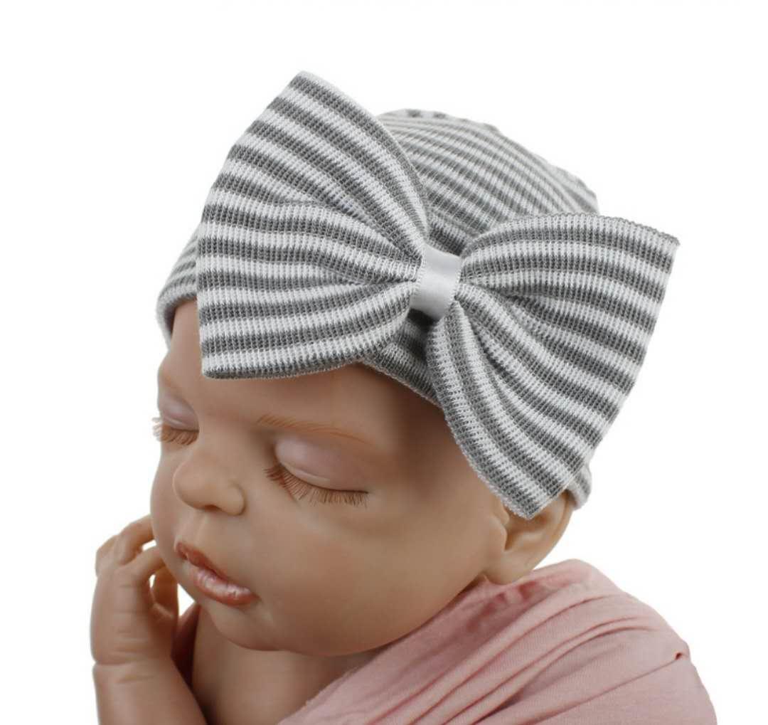 Newborn Hospital Hat Infant Baby Hat Caps with Bow Soft Cute Nursery Beanie skin-friendly winter warm knitting caps