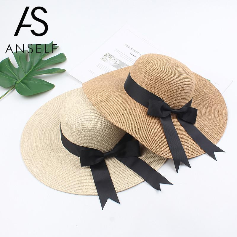 Мода лето Hat Широкий Брим Соломенные шляпы для женщин Elegant Ribbon Bow купола Панама Vintage ВС Hat Повседневный Boho Beach Holiday Cap