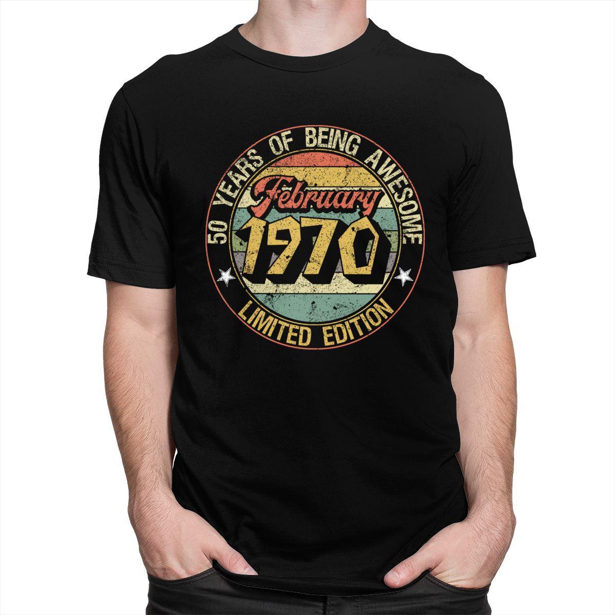 Kentsel Vintage Doğum Şubat 1970 Tee Erkekler Kısa Kol 50 Doğum Hediye Tişört O-boyun Slim Fit% 100 Pamuklu T Gömlek Giyim Tops