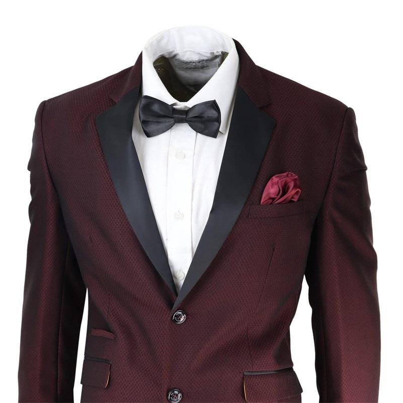 Borgoña para hombre de traje chaqueta y pantalones 2 pedazos de dos botones Formal Wear novio mejor hombre traje de boda de desgaste esmoquin