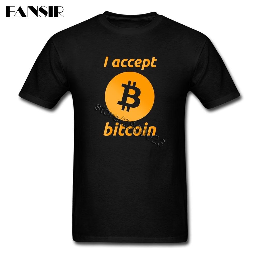 XS-3XL Acepto Bitcoin impresión personalizada camisetas del hombre algodón de manga corta camiseta de los hombres de verano Guys Tees