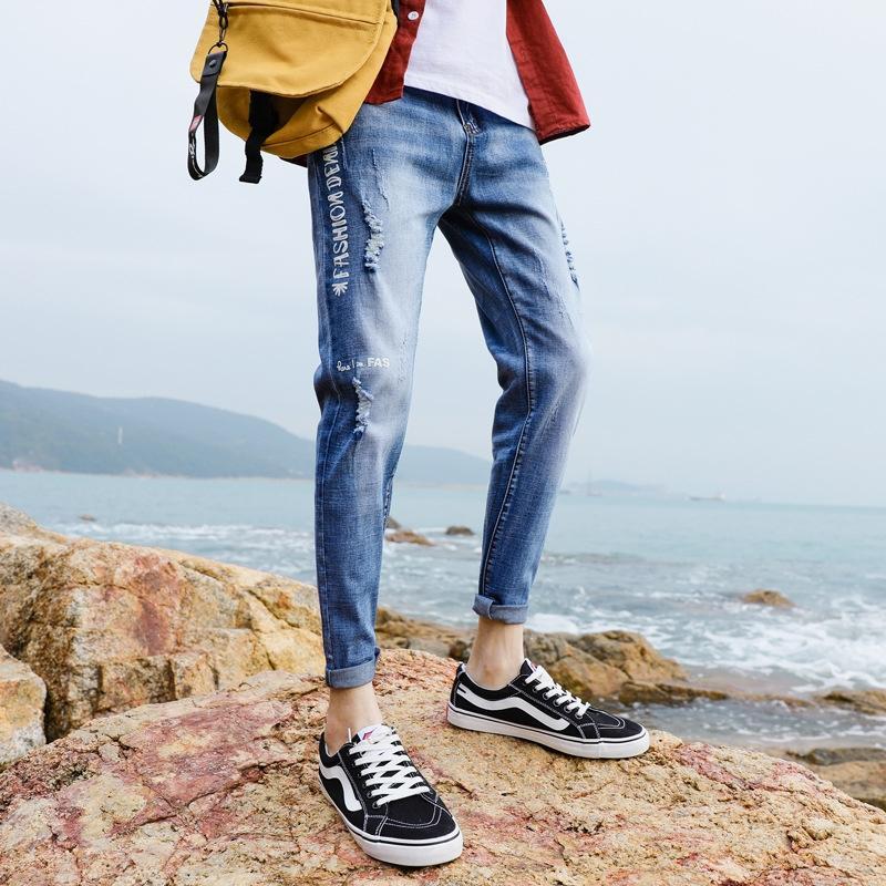 Enbu 2020 весна / лето Новой щиколоток брюки Брюки и брюки мужской случайной Stretch Slim Fit лодыжка мужских джинсовые брюки Lnml7