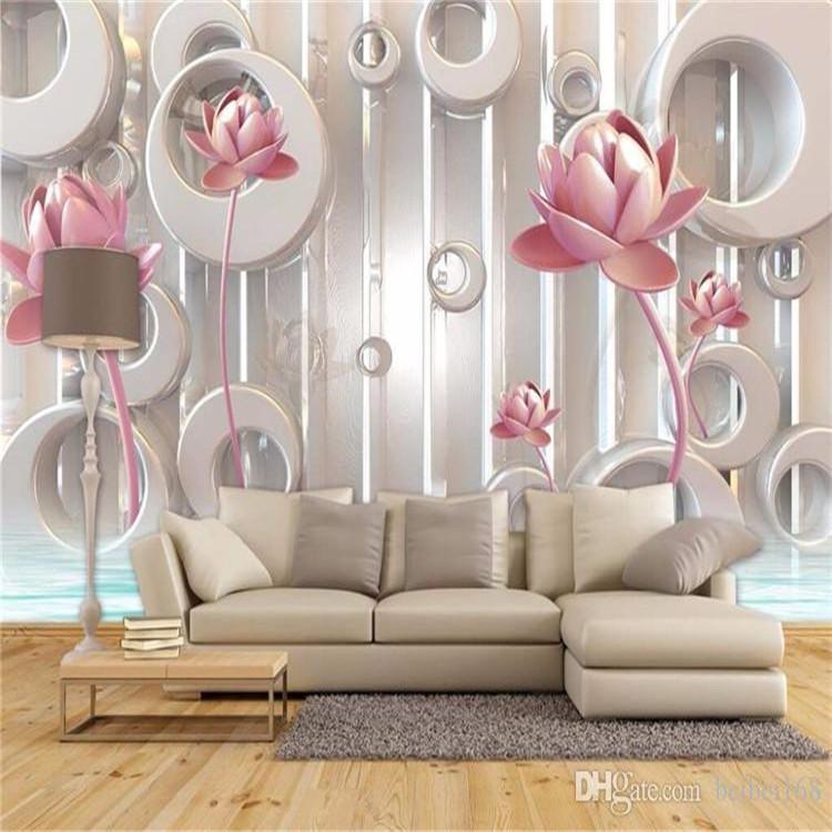 foto 3D Papel pintado de oro de Lotus sala de estar TV de la pared del papel pintado telón de fondo wallcovering gran mural pintado pared pintura moderna de tamaño personalizado