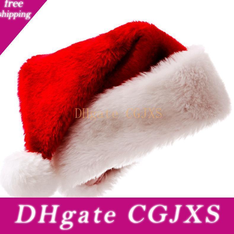 Noel Cosplay Hat Elbise Peluş yastıklı Yüksek Kalite Kısa Peluş Noel Şapka Yetişkin Kırmızı Santa Hat