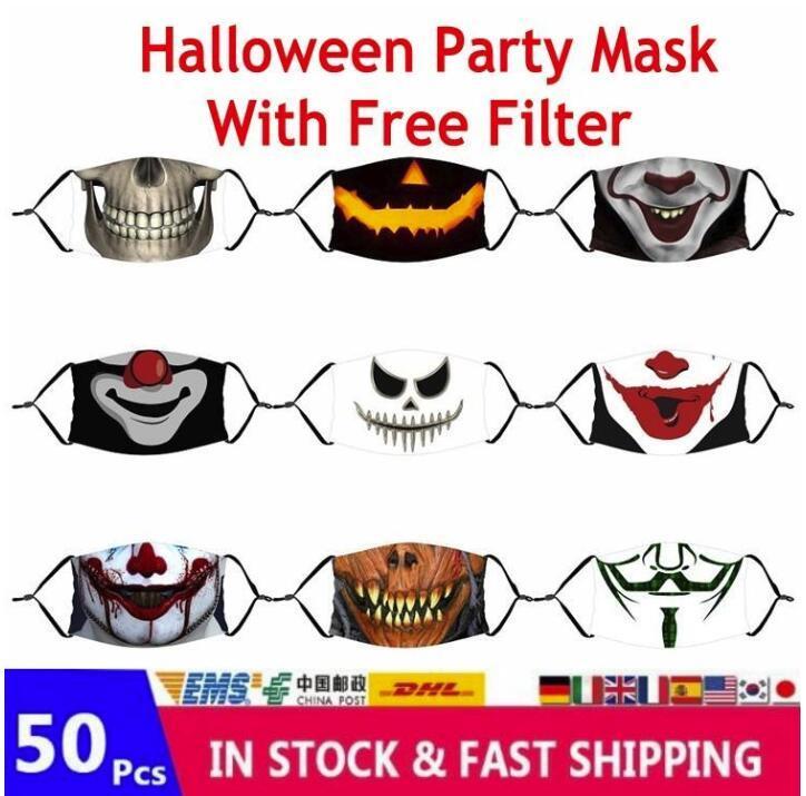 Amerikanska lager Vuxna Barn Skräck Ghost Anime Party Halloween Face Masks 3D Tryckt bomull Tvättbar återanvändbar munskydd med gratis filter FY9182
