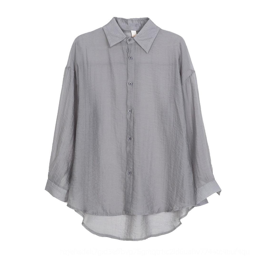 Kadınlara 2020 yeni Kore tarzı gevşek İpek gömlek gündelik büyük boyutlu ince için C2nFZ İpek gömlek uzun kollu güneş geçirmez