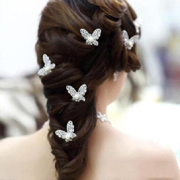Joyería perla de la mariposa del pelo artificial Pin de pelo cristalino de la boda de las horquillas de las mujeres del Rhinestone de la flor de los clips de plata dayupshop Jaowk