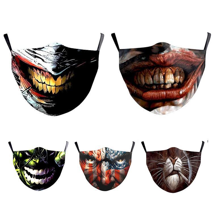 boca grande Halloween máscara face forma Guerras 3D à prova de poeira protetora impressão digital e anti-neblina máscara, lavável e filtro de máscara elemento