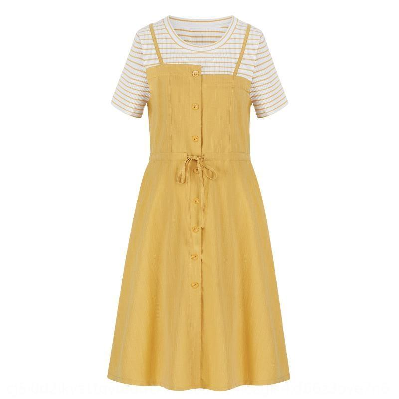 jupe jupes 2020 nouvel été faux deux pièces jaunes à puce fumé jupe robe de fée taille étanche française de Rmm4R populaires robe des femmes
