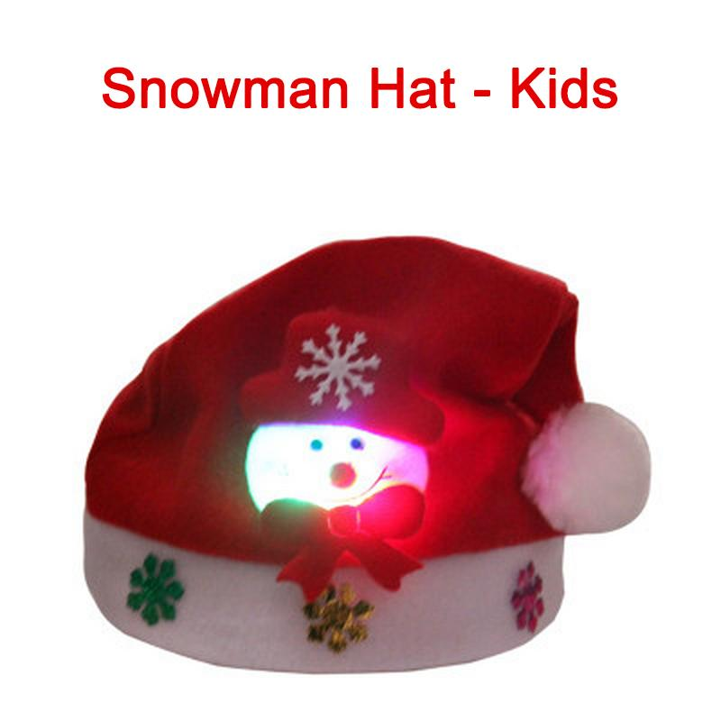 Christmas Hat Santa Claus Kids LED Christmas hat Santa Claus Reindeer Snowman Xmas Party Cute Cap wedding home decoration Gifts