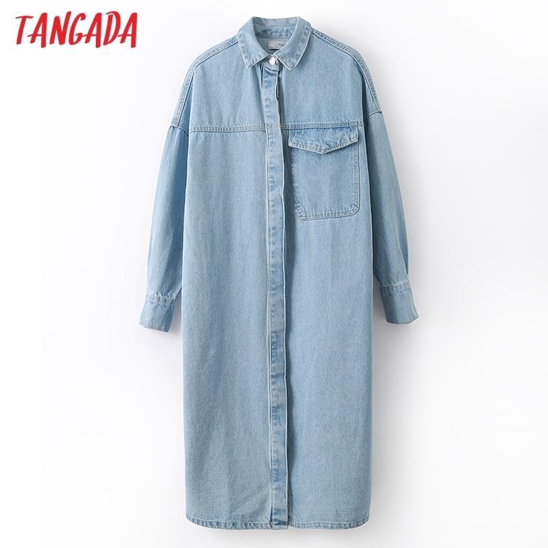 Tangada femmes élégant denim surdimensionné long manteau trench 2020 automne hiver de street wear femme outwear brise-vent 2N6 T200828