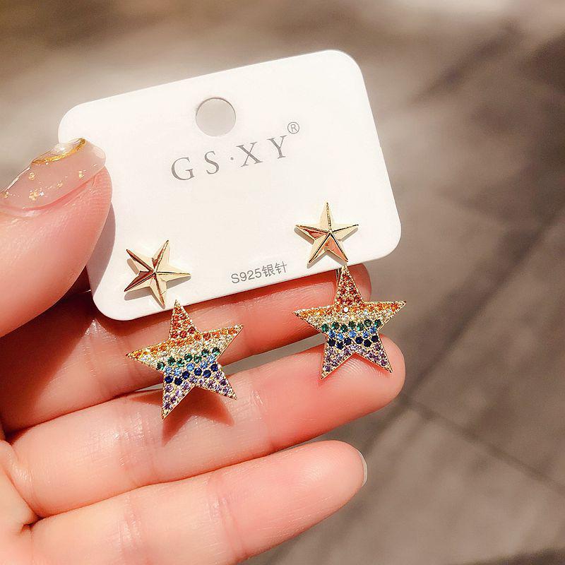 Чувствительная Многоцветный CZ Crystal Star серьги для женщин цвета золота Micro Асфальтовая Cubic Циркон Стад серьги ювелирные изделия