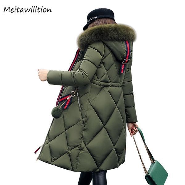 2020 Kış Kadın Kapşonlu Coat Bayanlar Kürk Yaka Uzun Ceket Kadın Plus Size 5XL Dış Giyim Parka Isınma Kalınlaşmak