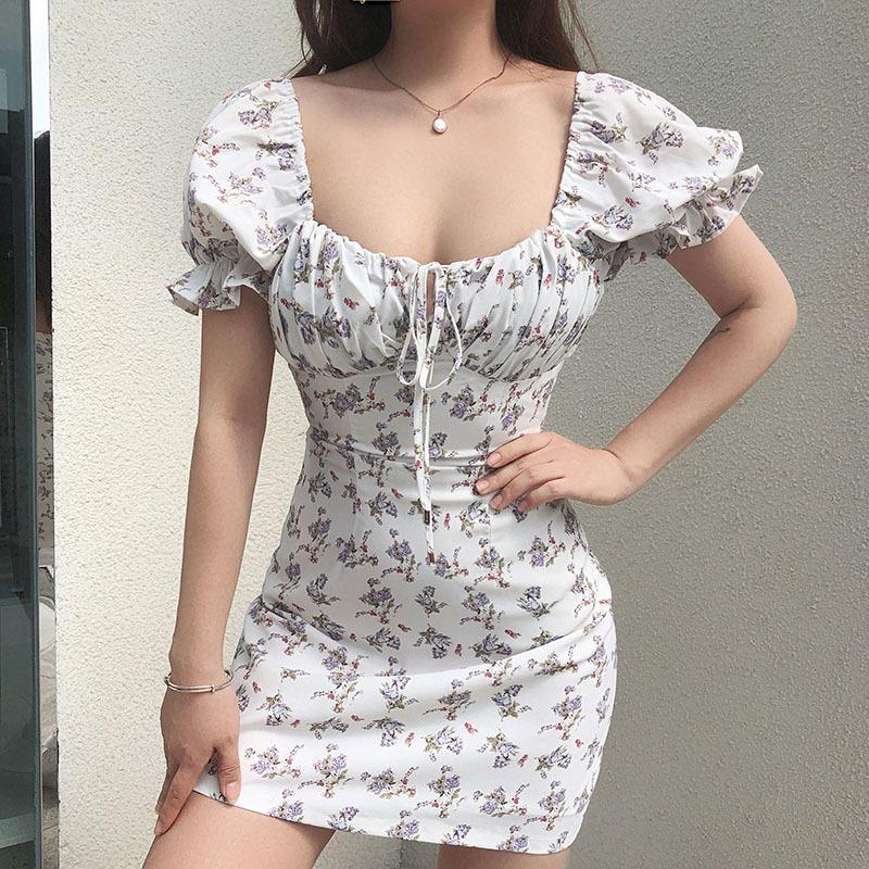 Белые повседневные цветочные женские платья повязка повязка повязку Ruched лето мини-платье Puff Islave High Street Aline женские платья