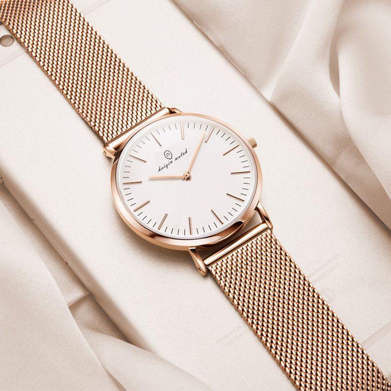 Montre Homme Haiqin 2019 Top Luxury Business Or Montre Homme Métal Mesh Sport Mode étanche Wristwatch Relogio Masculino