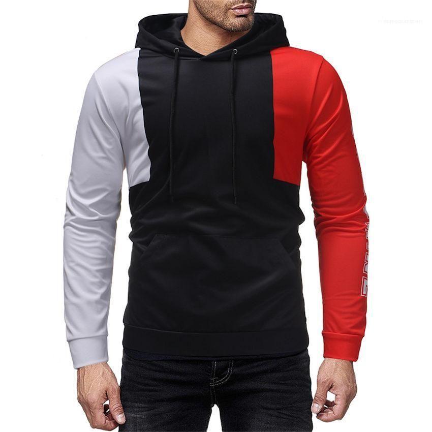 Imprimé en vrac Homme Vêtements Printemps Automne Hoodies Patchwork couleur manches longues à capuche Homme Sweat-shirts Casual