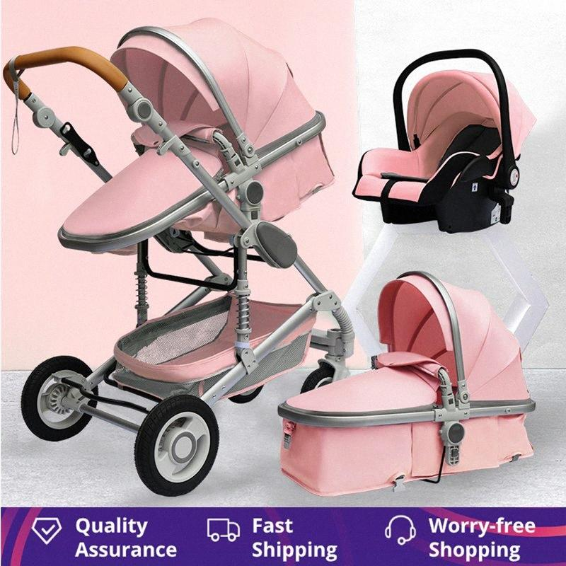 1 Taşınabilir Seyahat Bebek Taşıma Bebek Arabası 3 Pram Yüksek Peyzaj Alüminyum Çerçeve Yenidoğan Bebek Arabası Bhi2 # katlayın