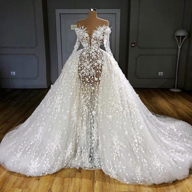 Illusion de luxe overskirts robes de mariée pleine manches sexy Voir Par perles Robes de mariée Sheer appliques cou robe de Novia