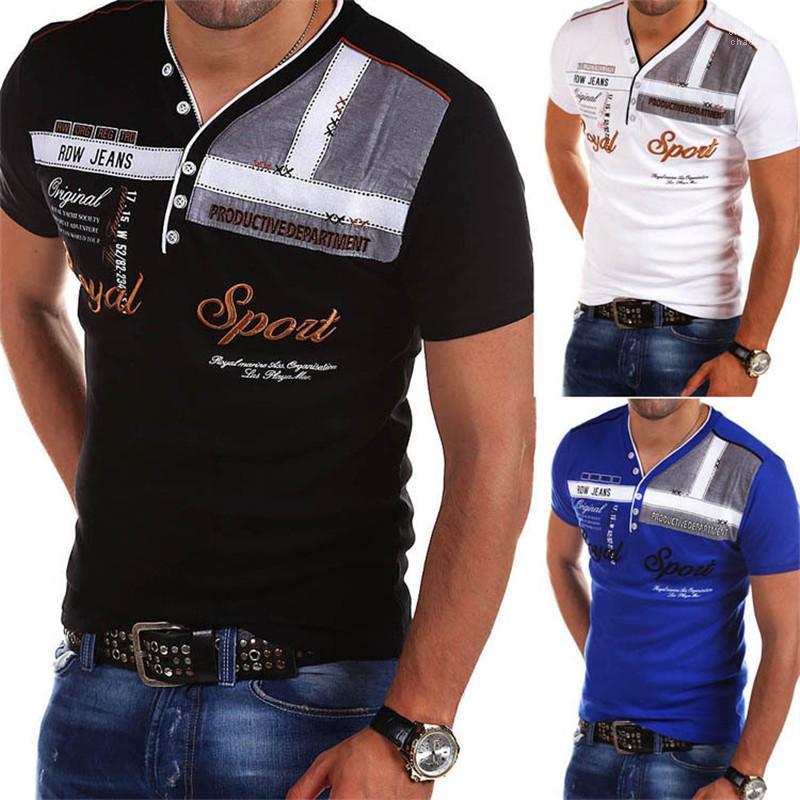 Вершины Повседневная одежда Летняя V шеи печати Мужские Tshirts Мода Короткие рукава Тощий Mens черный