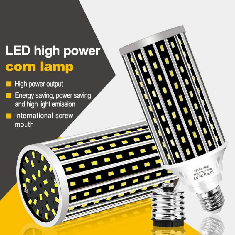LED Bulbs AC100-277V E27 50W 2835 Fan Cooling LED Corn Lights Bulb Without Lamp Cover for Indoor Home Decoration Droplight Street Spotlight