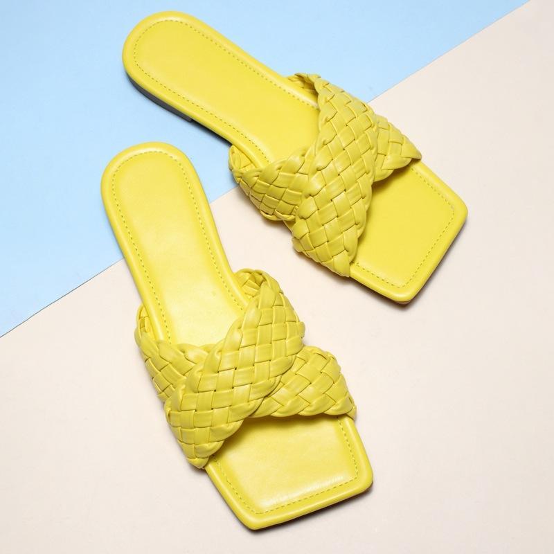Dahood 2020 Verão Weave Chinelos Praça Ladies Open Toe Cruz antiderrapantes sapatos Sólidos Soft Color Sole Plano de costura Mulheres Slides