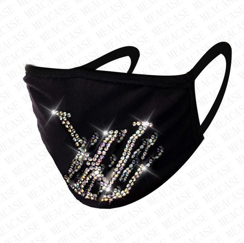 Tasarımcı Siyah Maskeler Yıkanabilir Yeniden kullanılabilir Glitter Shinny Gem Mücevher Facemask Ağız Kapak D8607 BlingBling Moda Elmas Elmas taklidi Yüz Maskeleri