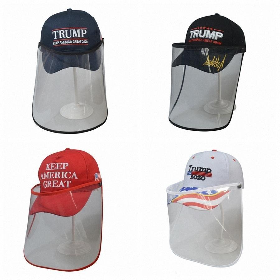 Trump Cap Máscara hacer de Estados Unidos Gran nuevo 3D del sombrero del bordado de béisbol al aire libre desprendible transparentes máscaras de protección sombrero careta LJJA OnVR #