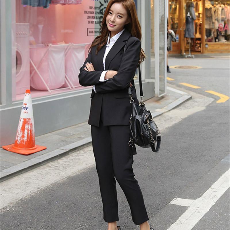 Estrangeiro Kitty 2020 novo escritório de trabalho Wear Suits Pant Elegant OL 2 Define peça sólida Blazer Calças paletó For Women Set Femme T200817