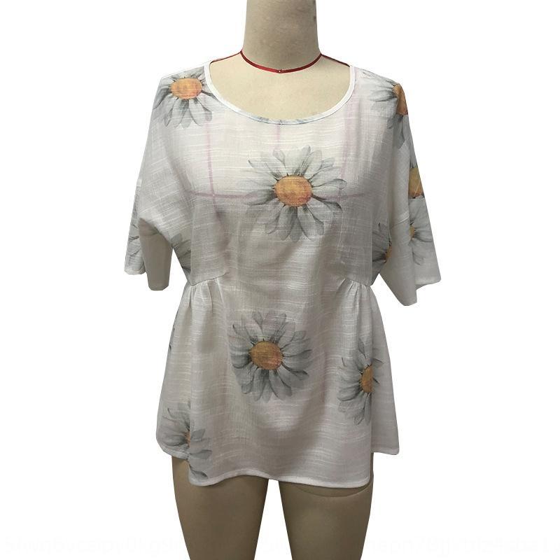 2020 Verão novo crisântemo impresso T- camisa solta t-shirt de manga curta em torno do pescoço para as mulheres
