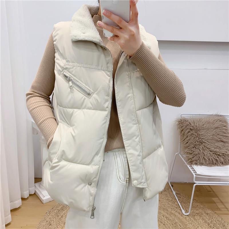 para baixo Mulher de algodão colete curto primavera colete 2020 e Outono nova versão coreana jaqueta pão solta grossa jaqueta colete