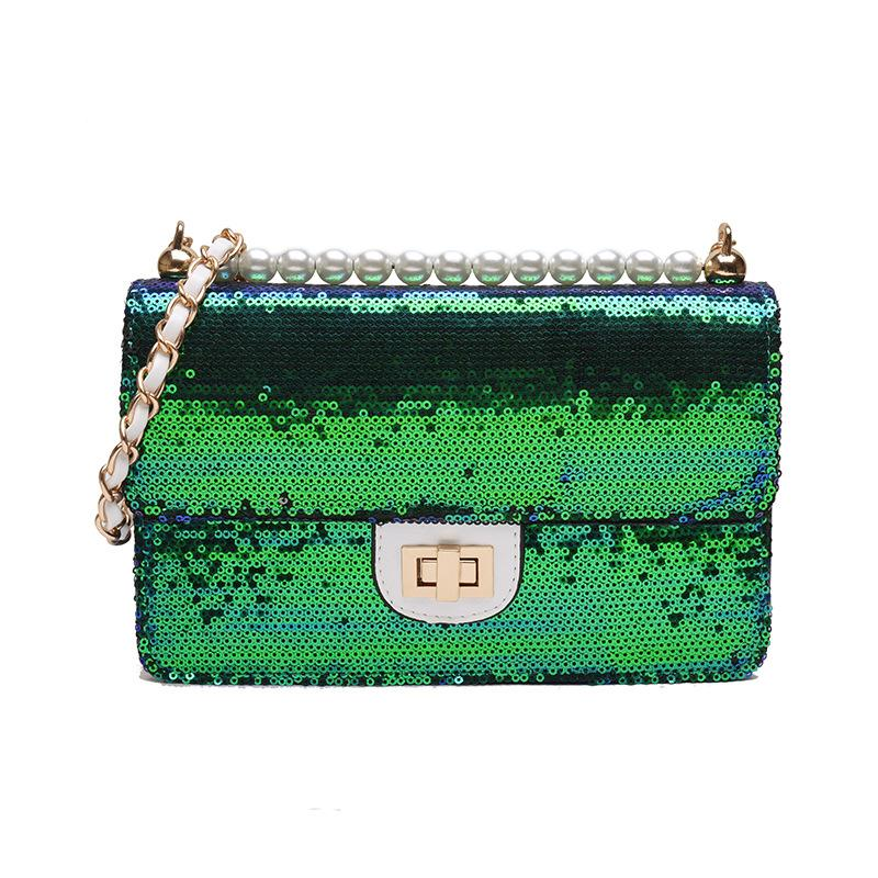 Moda brilhante couro Crosssbody Bag lantejoulas Flap Feminino Ombro Ombro Bolsa Glitter Trendy Bolsa Festa Ladies Purse