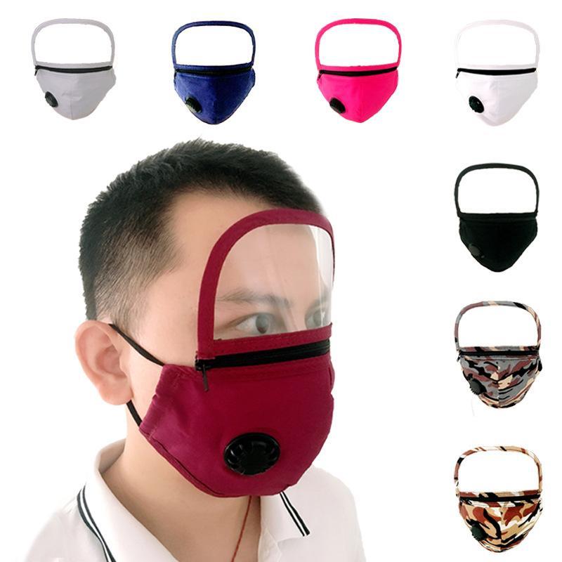 Ventil-Gesichtsmaske mit Reißverschluss Abnehmbare-Augen-Schild Staubdicht Waschbar Full Face Gesichtsschutzschild Designer Masken EWC1411