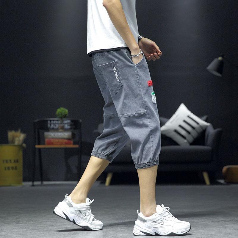 moda br ajuste magro dos homens WENhT cortadas e Calções de ganga, calças de ganga short verão finas calças médias coreano estilo moderno ocasional calças cortadas