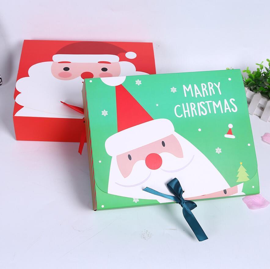 عيد الميلاد القوس الشريط علبة هدية كبيرة أحمر أخضر صناديق تغليف كرافت التفاف التخزين ورقة مربع DIY حلوى الشوكولاته صندوق DHL