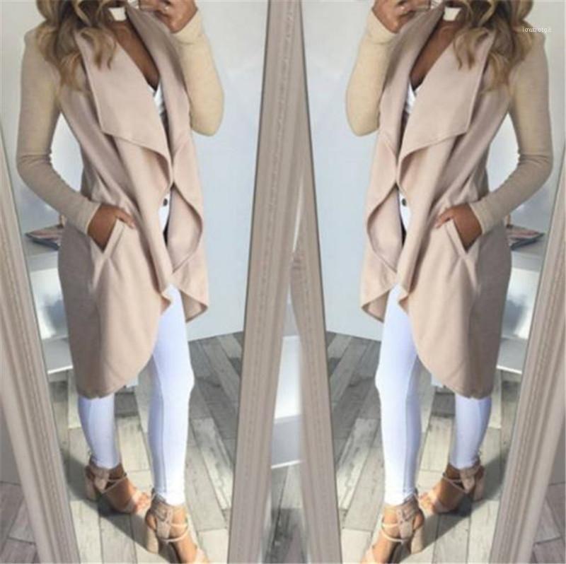 Overcoat Casual Asymmetrical Outerwear Jacket Women Cardigan Coat Autumn Blends Pockets Long Sleeve Lapel Collar Slim