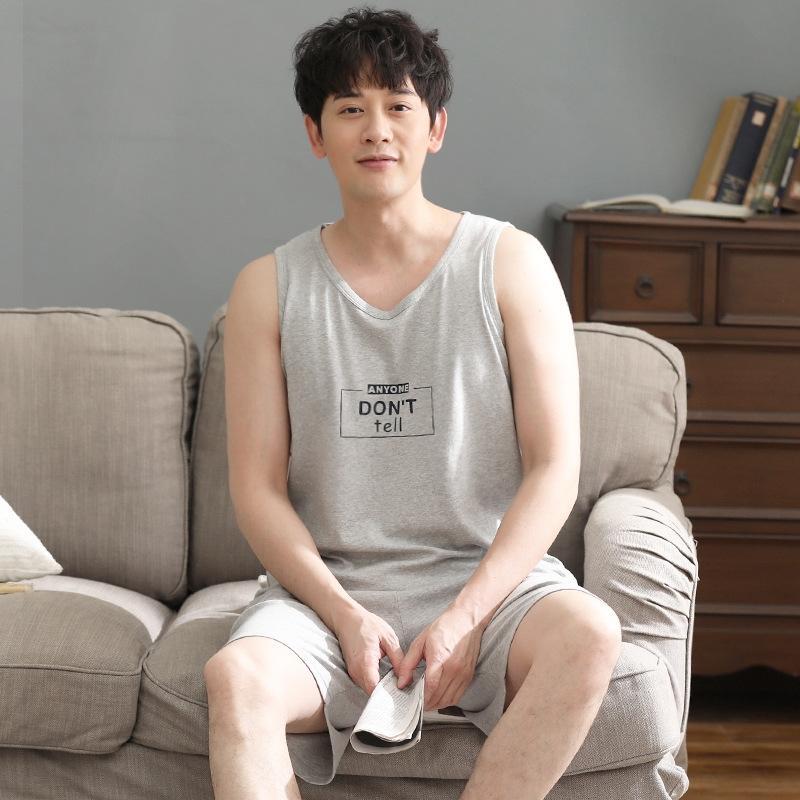 pPJ7n f8rOF Verão pijama Início manga veste calções calções veste dos homens do estilo de algodão jovem magro roupas curtas-coreano de algodão sem mangas grande siz
