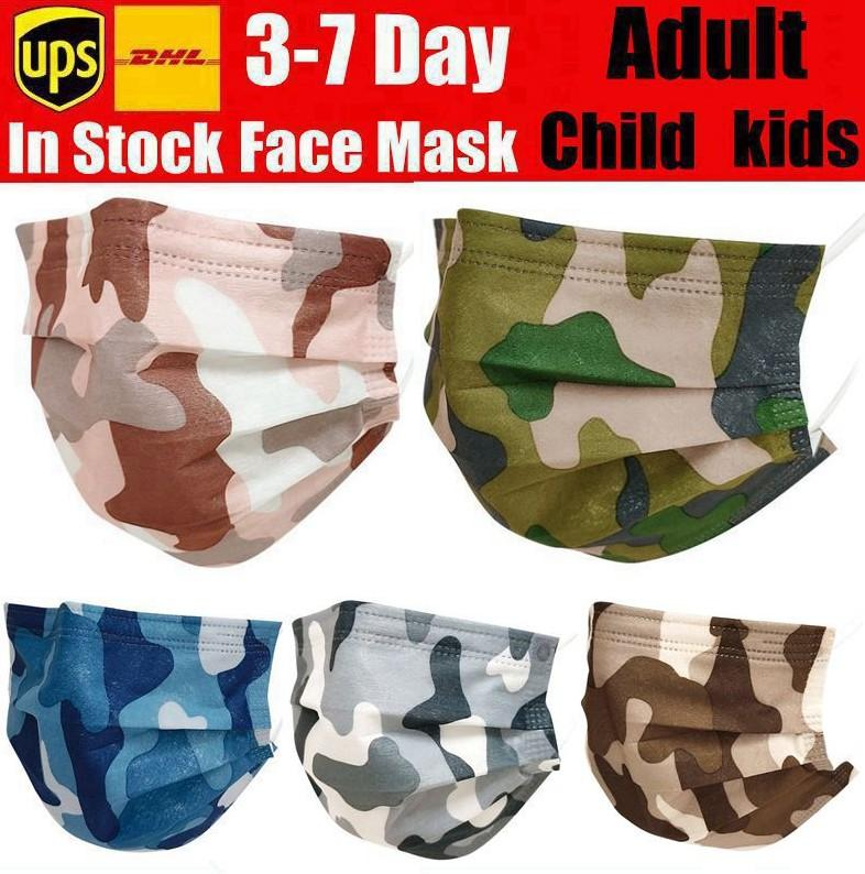 Camouflage Disposable Face Masks with Elastic Ear Loop 3 Ply Breathable for Blocking Dust Air Anti-Pollution Mask