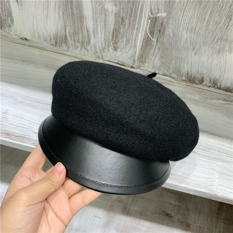 beirais couro vento das mulheres atingiu o pico em bico cap cap boina all-jogo costura boina estilo coreano casuais simples moda chapéu Bud