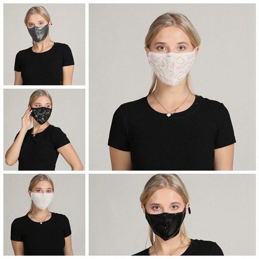 Máscaras Moda cara Lace reutilizável Mulheres Sequins Bling Lace Máscara Facial exterior à prova de poeira respirável lavável Máscara Facial IIA214 1luC #