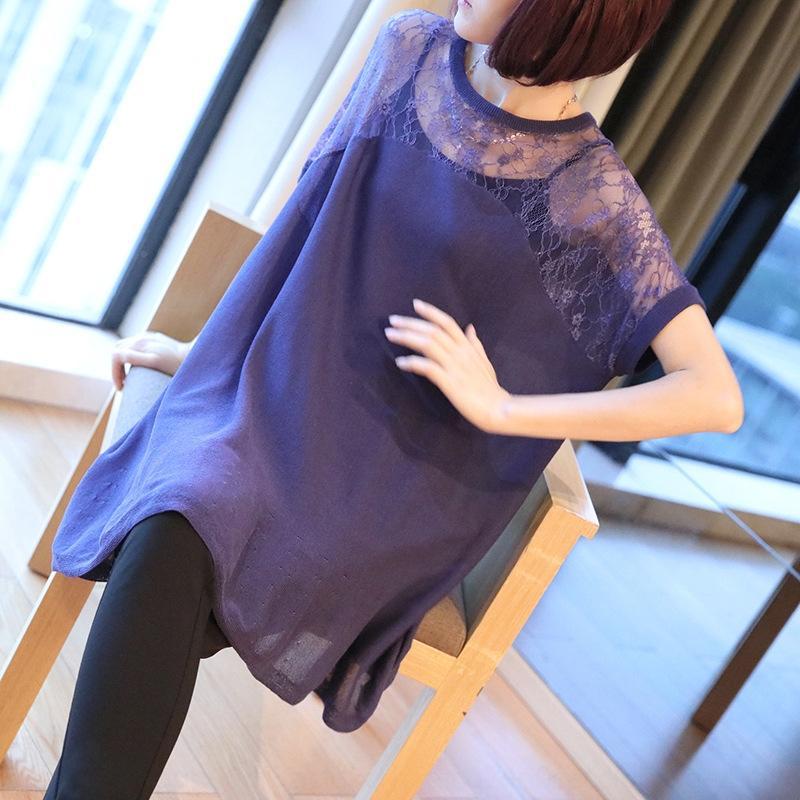 4ADaI coreano estilo Camisa soltas de manga curta de malha Ice Silk top feminino 2020 verão nova moda oca-out malha costura blusa