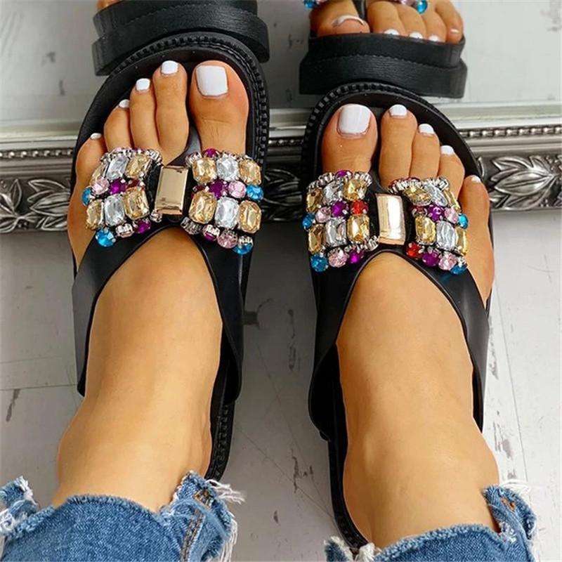 Flip 2020 neue Sommerfrauen Flops Damen Hausschuhe süßer Bogen Rhinestone-Plattform Bottom atmungsaktiv Frauen-Strand-Schuhe