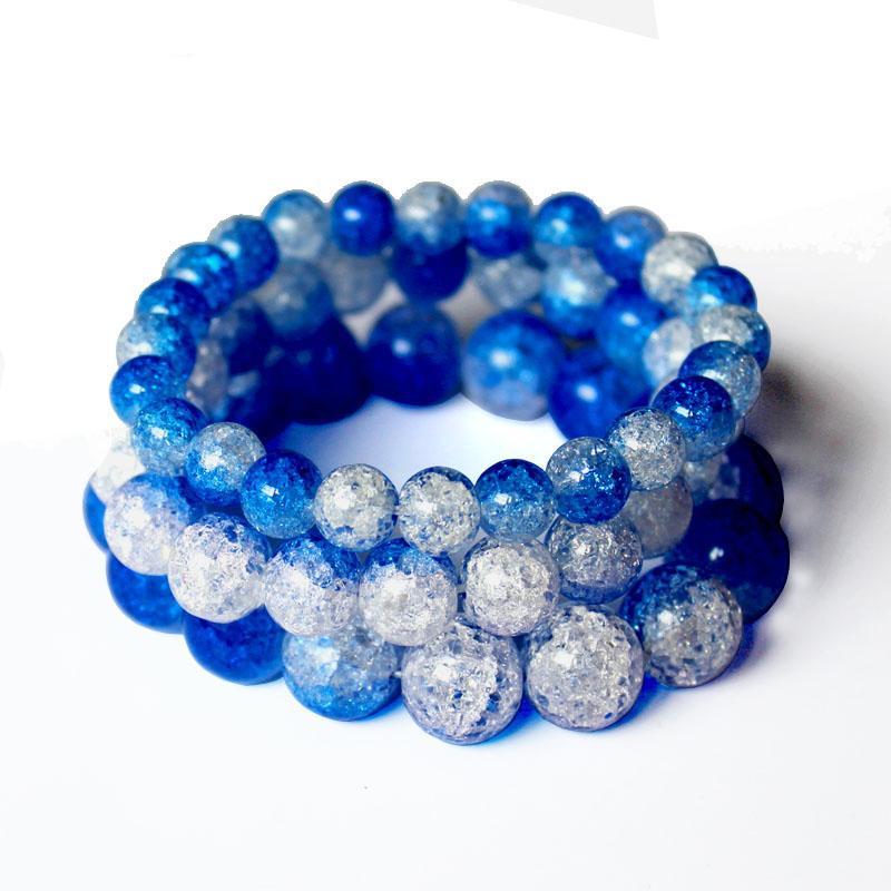 Pulsera de cristal natural con cuentas facetadas crujido de hombres de las mujeres joyas al por mayor DIY encanto de los granos Pulseras Europea
