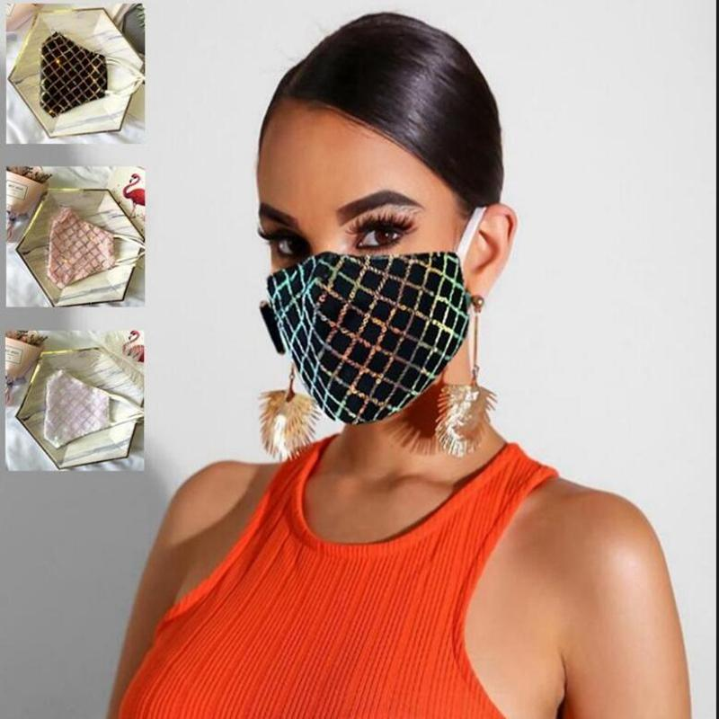 Bling Sequins Face Masks European American Popular Design Masks Summer Thin Dustproof Breathable Washable Reusable adult Mask YYA307-1