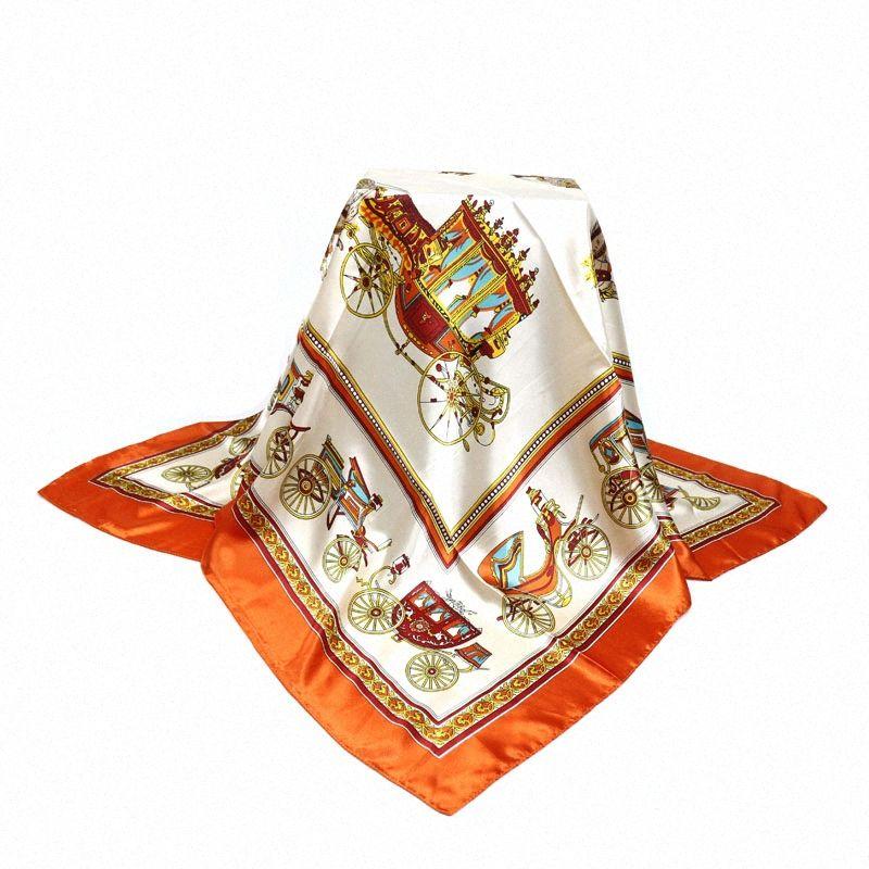 Оптовая 90 * 90см Оптовая Большой размер женщин сатин площади шарф полиэстер Шелковый шарф цветок шаль Хиджаб Мода Солнцезащитный Шали 8Vta #