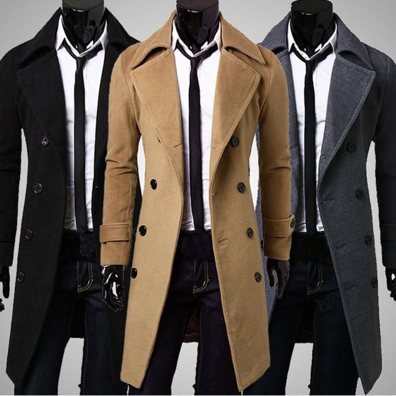 2020 New Arrival Winter Men Slim Stylish Trench Coat Double Breasted Long Jacket Parka