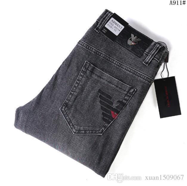 Beliebte Logo beliebt Logo Jeans für Männer koreanische Version der junge schlanke schlanke Stretchhose bestickt