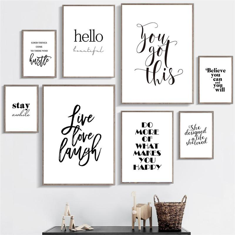 Live Love Laugh Inspiring Quotes Wall Art Canvas Painting Black And White Wall Poster Prints For Living Room Modern Home Decor